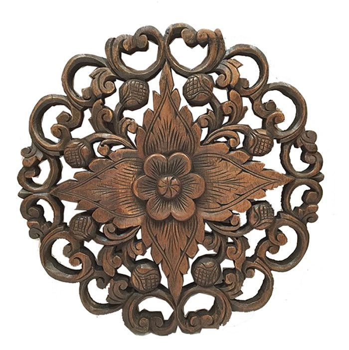 Oriental Carved Lotus Round Wood Plaque, Round Wood Carved Wall Decor