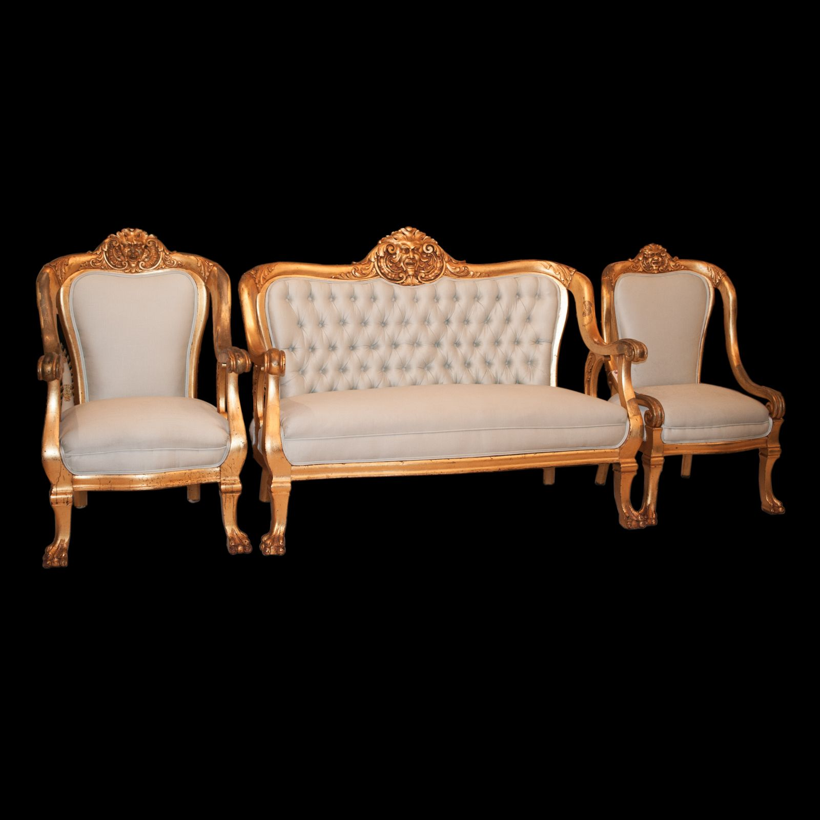 Lot #12: Victorian Furniture Set  DESCRIPTION:Victorian furniture set featuring a chair, an arm chair, and love set. All peices are garnished with gilded wood frame and celeste blue upholstery. Finished with smiling figures along the top of the frame and animal footed style legs.  CIRCA:Early 20th Ct. ORIGIN:France DIMENSIONS: Chair:H: 39″ L:23″ W:22.5″ Arm Chair: H:41″ L: 27″ W: 26″ Love Seat: H:41″ L:56″ W:28″