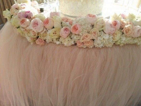 Pink champagne tulle wedding table linen pink blush weddings pink champagne tulle wedding table linen junglespirit Image collections