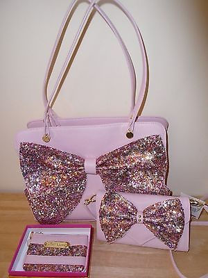 Betsey Johnson Sequin Bow Satchel, Crossbody Bag, and Coin Purse, Blush Pink