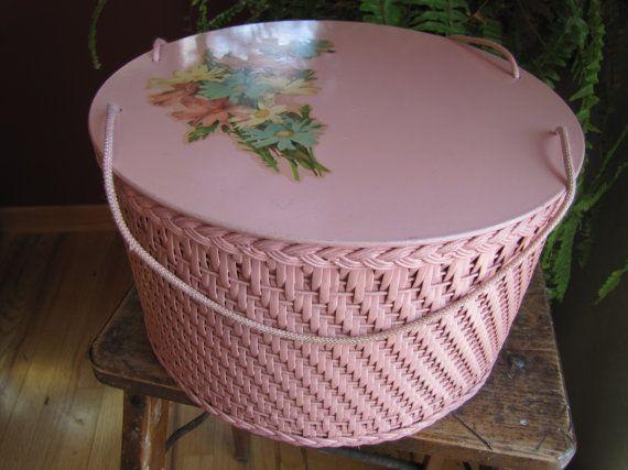 Vintage Round Pink Sewing Basket by smileitsvintage on Etsy, $28.00