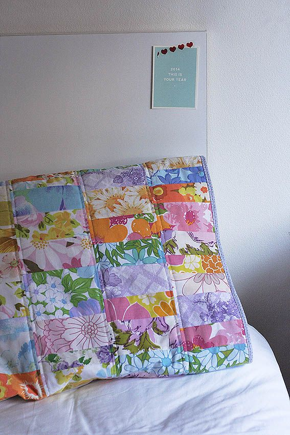 Look What I Made: Scrappy Vintage Sheet Quilted Pillow Case ... : pillowcase quilt pattern - Adamdwight.com