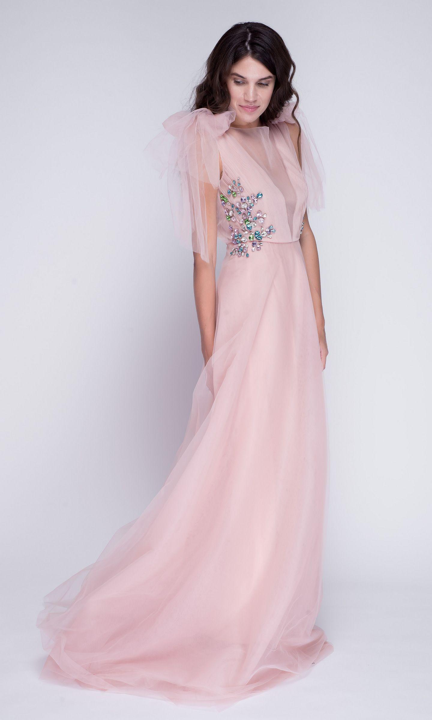f94d8c1e078 Нежно-розовое платье макси из фатина с камнями