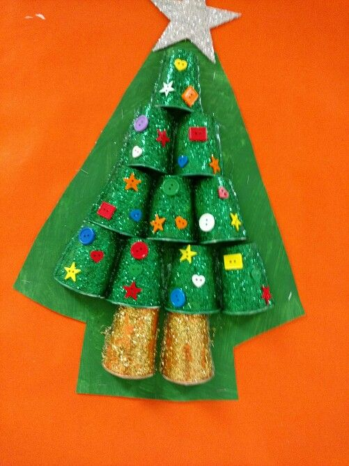 Beautiful Easy Tree Made Of Half Paper Cups Covered In Glitter N Glue By Alex S Class Beautiful Easy Simple Art Christmas Ornaments