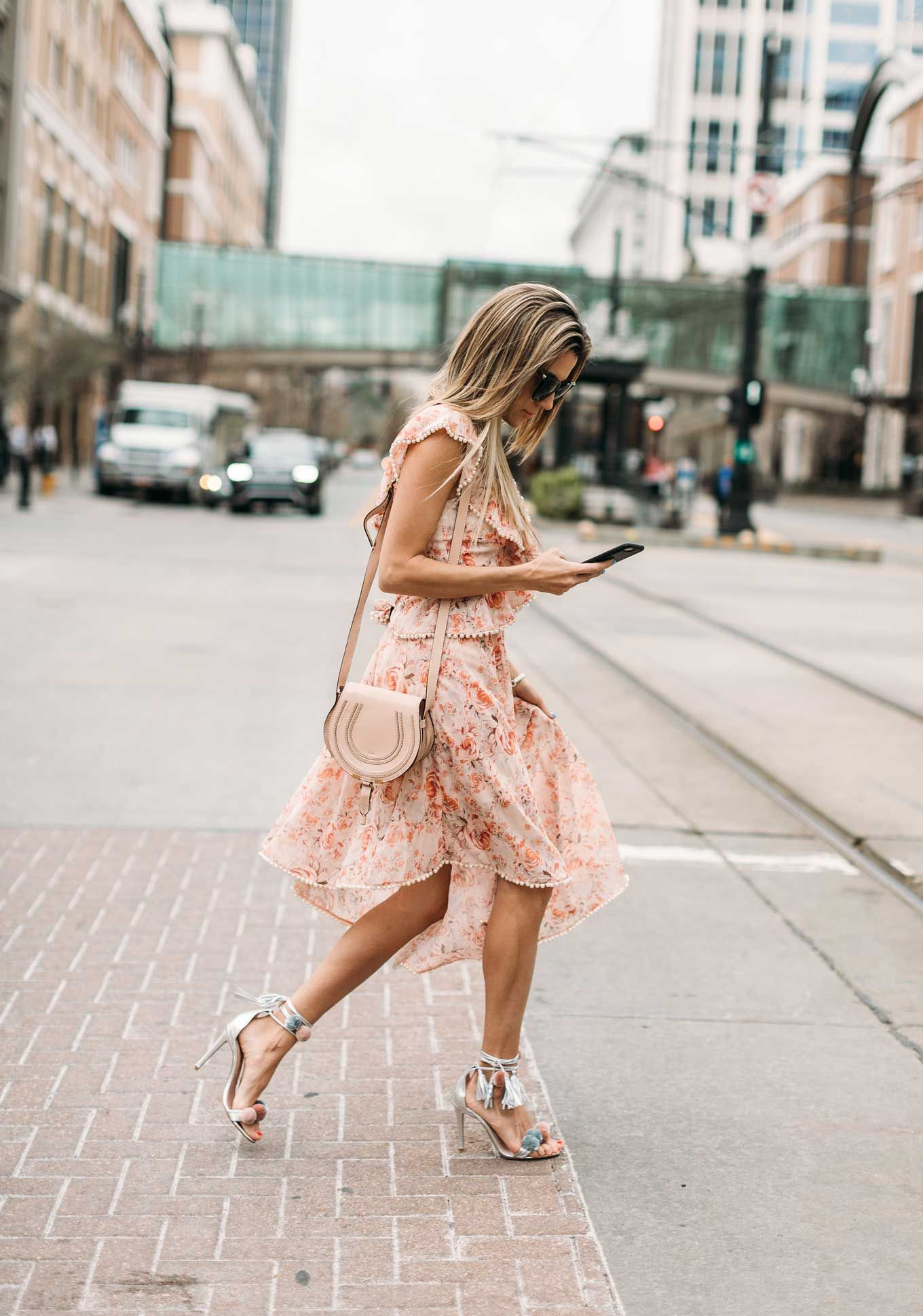 34eb5a8364 HelloFashionBlog  Spring Floral Dresses and silver pom sandals.