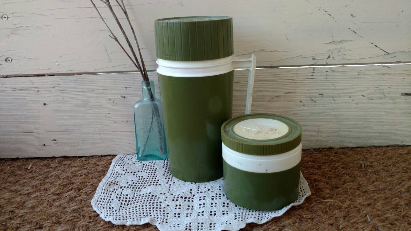 2 Olive Green Thermos Set - Vintage + Retro Drink Container for Picnics, Work Lunch Drink or Soup Holder, Portable Picnic Ware, 1970's by happydayantiques on Etsy https://www.etsy.com/listing/114428322/2-olive-green-thermos-set-vintage-retro