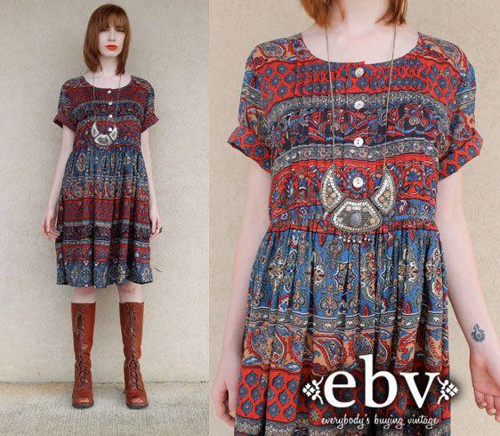 Vintage Hippie Dress Hippy Dress Boho Vintage Indian Von Shopebv 88 00 My Vision Board Hippie Dresses Vintage Hippie Boho Dress