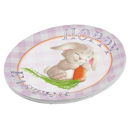 Hoppy Happy Easter Bunny Pink Gingham Pattern Paper Plate | Pink gingham  sc 1 st  Pinterest & Hoppy Happy Easter Bunny Pink Gingham Pattern Paper Plate | Pink ...