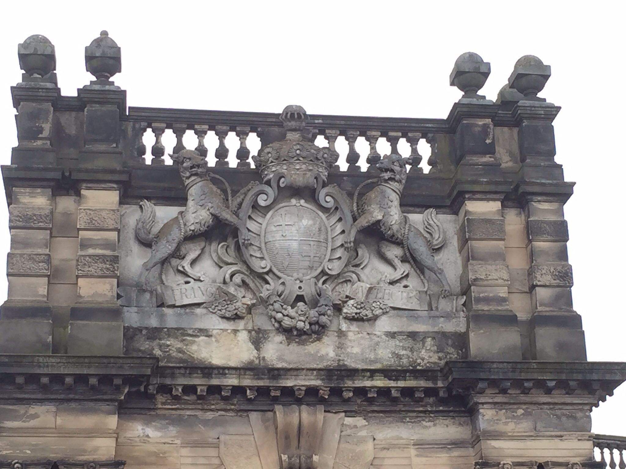 The sutherland coat of arms above the front door of trentham hall