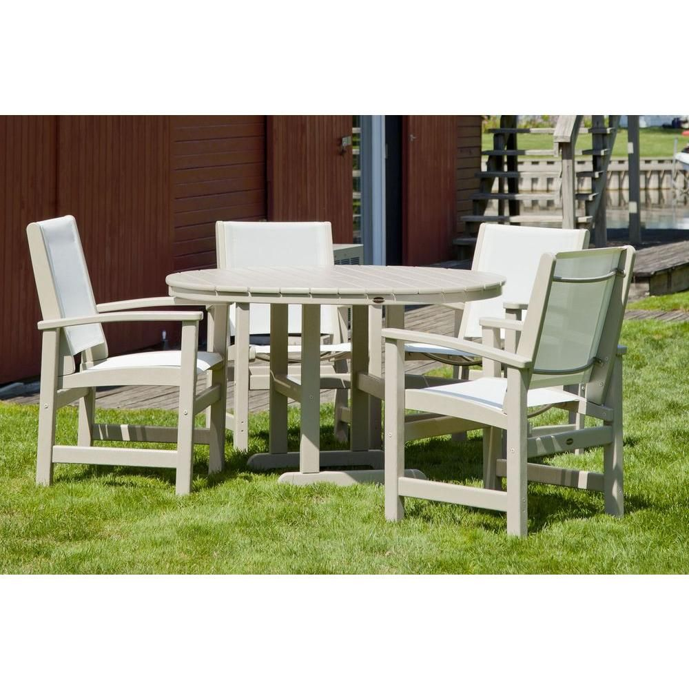 Polywood Coastal Sand 5 Piece Patio Dining Set With White Slings