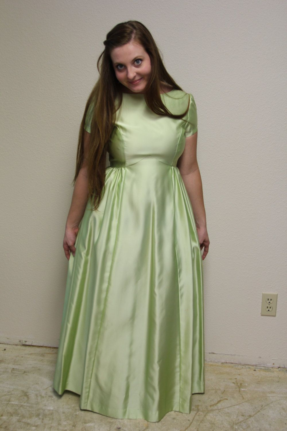 Vintage 1960s bridesmaid dress prom dress formal gown in vintage 1960s bridesmaid dress prom dress formal gown in yummy pistachio color short ombrellifo Image collections