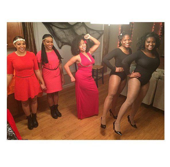 Girls Holding Hands Salsa Dancer And Dancing Twins Emoji Emoji Costume Halloween Costumes Pop Culture Red Dress Women