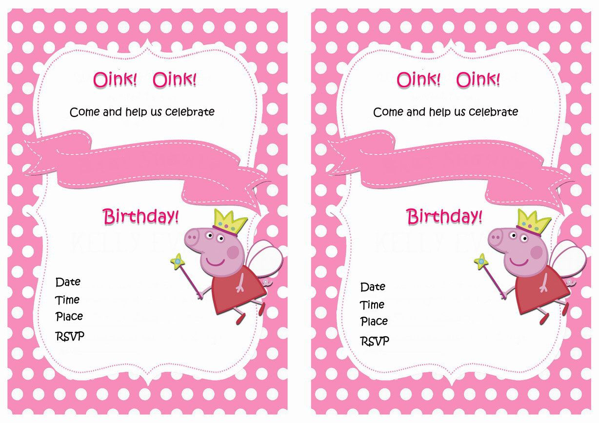 Peppa Pig Birthday Invitations Printable