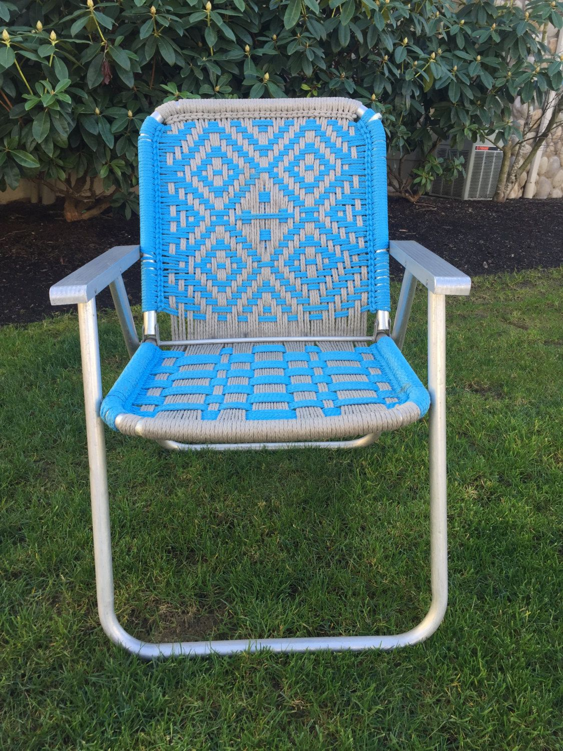 Vintage folding lawn chairs - Reserved John Vintage Macrame Lawn Chair Aluminum Macrame Chair Blue Lawn Chair Folding Lawn Chair Garden Chair Camping Chair