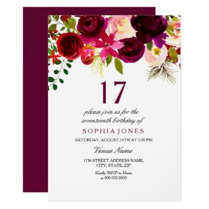 Burgundy Floral Boho 17th Birthday Party Invite - birthday gifts party celebration custom gift ideas diy
