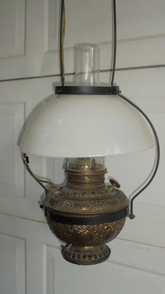 Antique Hanging Oil Lamp The New Rochester C 1892 Electric Conversion