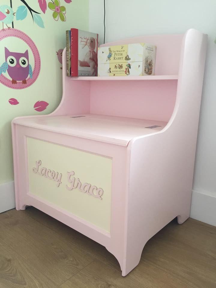 Blue Storage Kids Toy Box Playroom Furniture Bedroom Girls: Handmade Personalised Toy Box With Built In Bookshelf