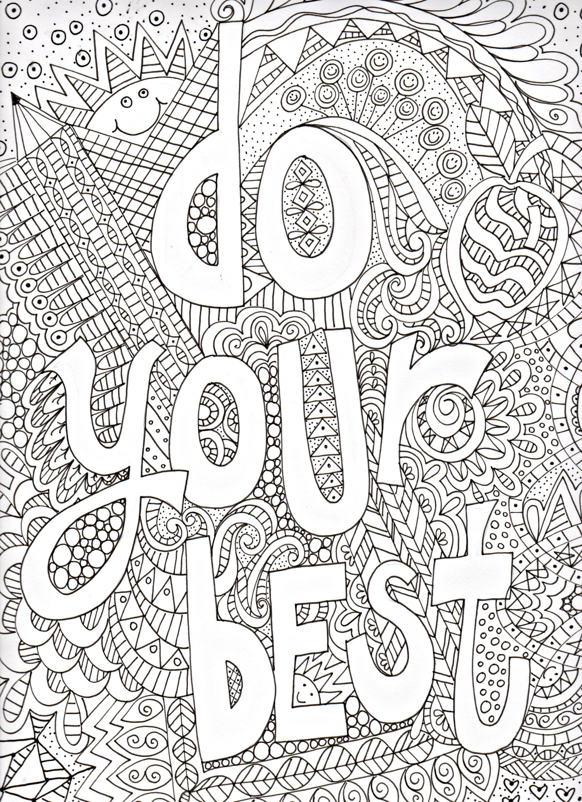 Do Your Best Doodle Art Coloring Page