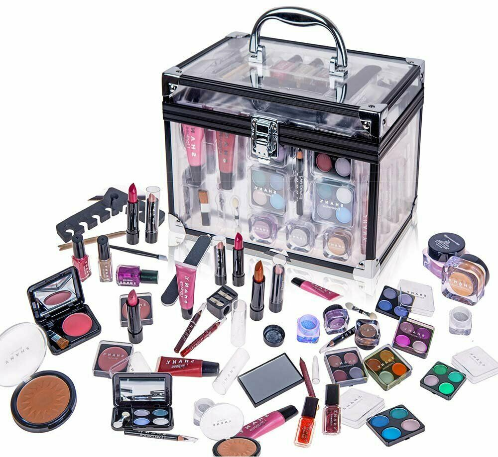 Shany Carry All Trunk Professional Makeup Kit Eyeshadow Pedicure Manicure With Black Trim Clear Case Th Professional Makeup Kit Cosmetic Gift Set Makeup Kit