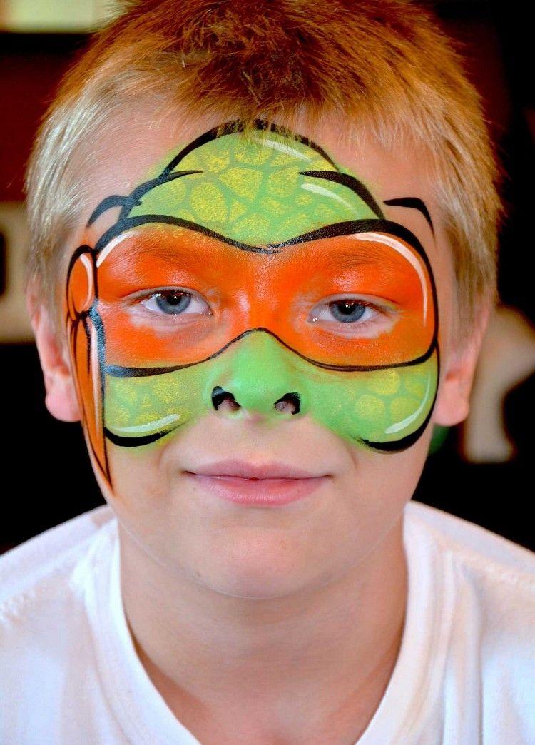 Schminkvorlagen Kinder Fasching Ninja Turtles Michelangelo Fasching