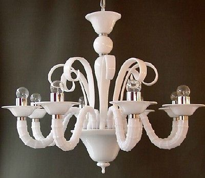Modern 8-Light White Glass Chandelier Pendant Lighting Fixture