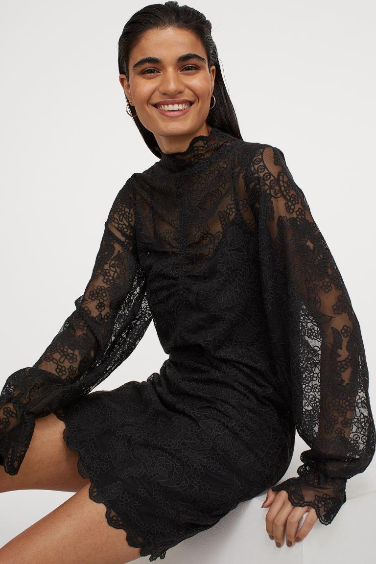 spitzenkleid mit stehkragen - schwarz - ladies | h&m de