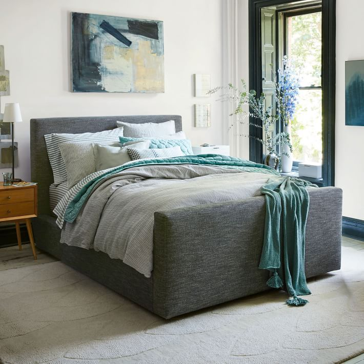 Urban Bed Frame, Full, Heathered Tweed, Charcoal | bedroom ...