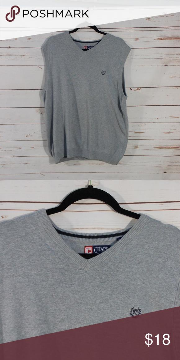f217931b050a Chaps Mens Medium Sweater Vest Gray Blue nwot 100% Cotton pit to pit ...