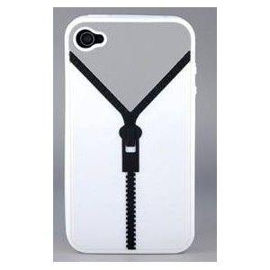 Coque iPhone 4 - Fermeture Eclair - Blanche