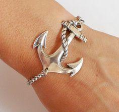 Steampunk Anchor Bracelet- Sterling Silver Ox Finish- Nautical Bracelet- Medium Anchor