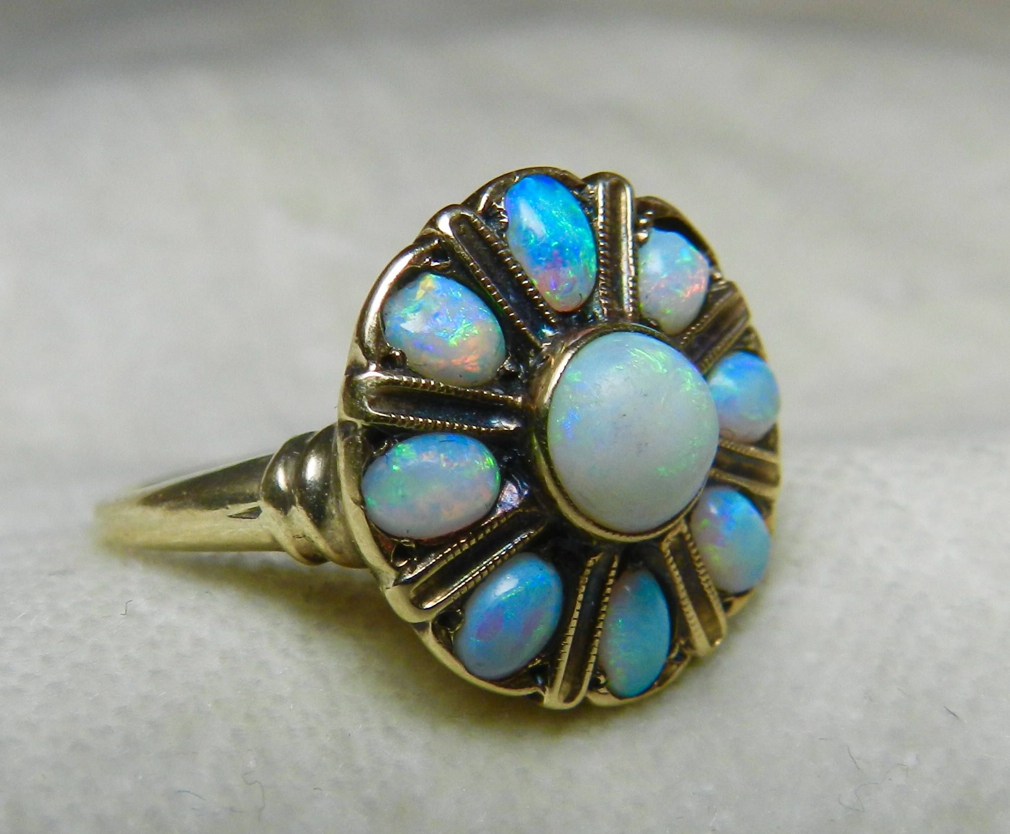 Opal Ring Halo Ring Semi Black Opal Engagement Antique Australian ...