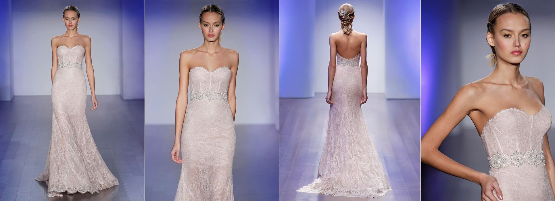 Rose Chantilly Lace Trumpet Bridal Gown, Sheer Corseted