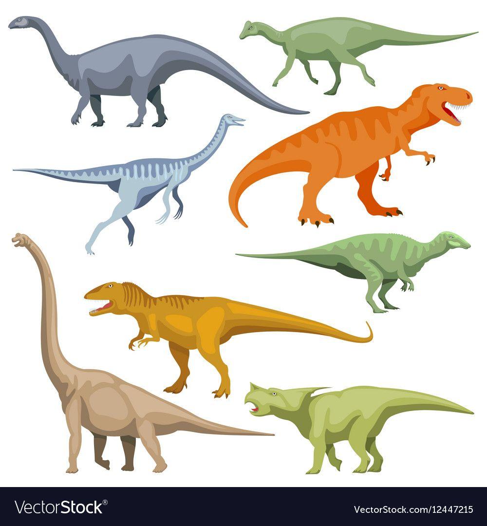 Cartoon dinosaurus reptiles set vector image on