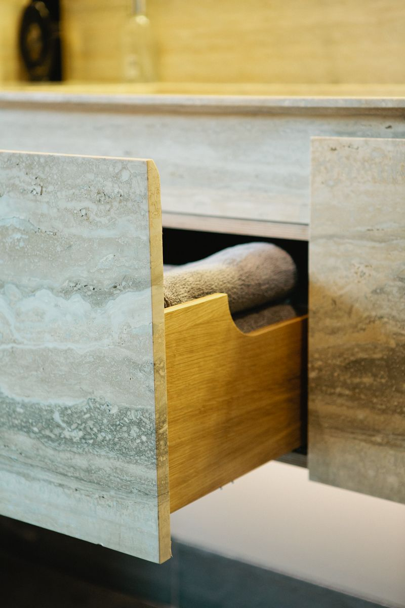 Stone Drawer Fronts and Drawer Detail on a Vanity Unit by ...