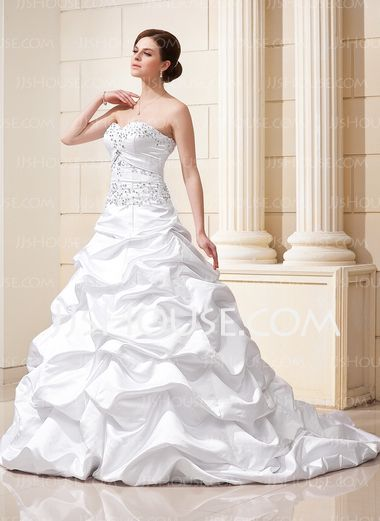 Ball-Gown Sweetheart Court Train Satin Wedding Dresses With Ruffle Lace Beadwork Sequins (002012635) - JJsHouse