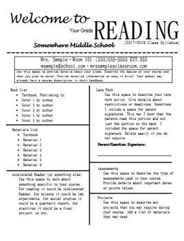 syllabus editable 6th grade reading classroom syllabus