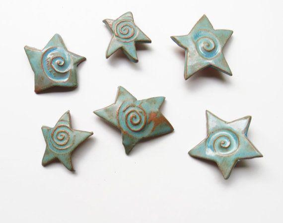 Ceramic ~Ceramic Stars ~Ceramic Wall Art ~Stars ~outdoor Wall Art ~wall  Sculpture ~ceramic Sculpture ~blue Green Glaze ~terracotta ~6 Stars