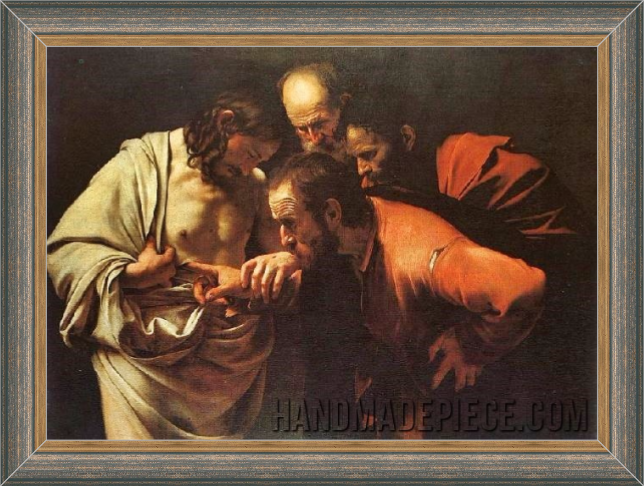 Framed The Incredulity of Saint Thomas Reproduction Painting for Sale - Caravaggio Replicas
