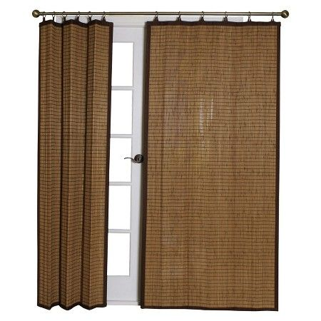 40 X63 Bamboo Ring Top Light Brown Curtain Panel Brown
