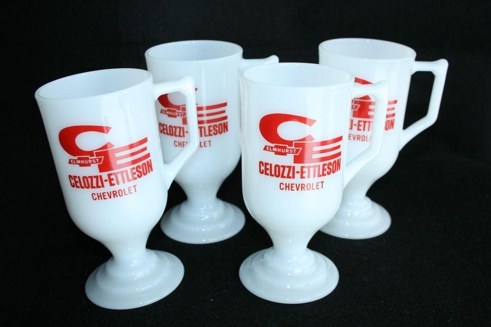 4 CELOZZI-ETTLESON CHEVROLET Milk Glass Advertising Vintage Tall Mugs