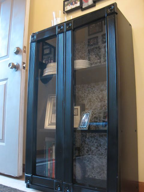 Adding Gl Doors And Fabric Backing To An Inexpensive Bookshelf Dress It Up