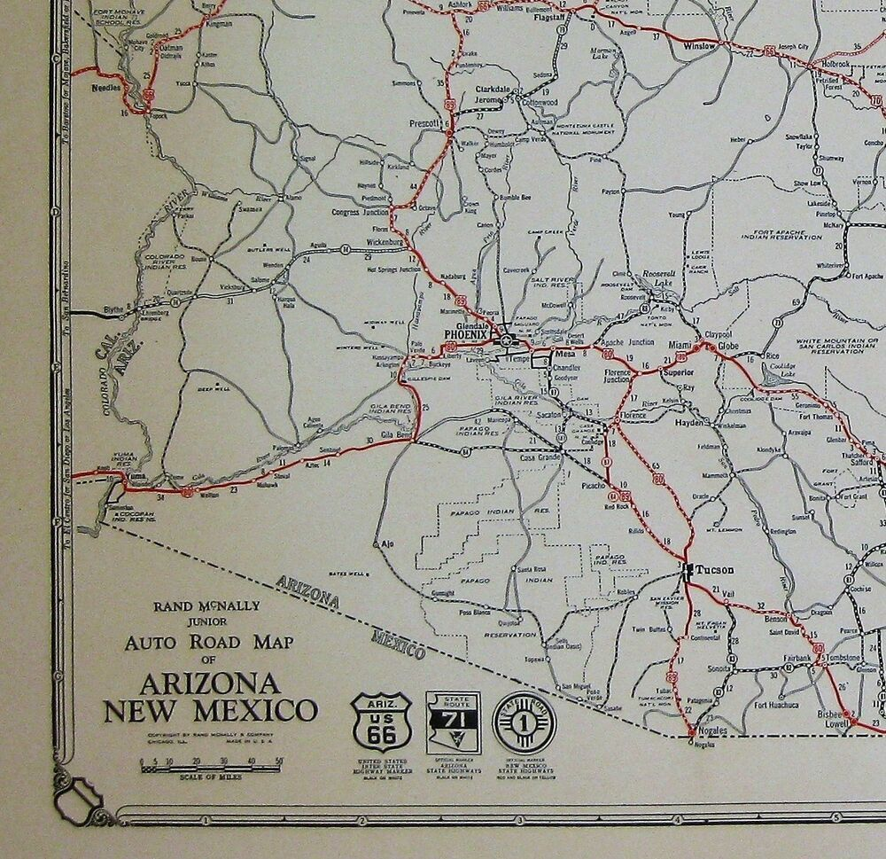 1932 Antique ARIZONA State Map Auto Road Map NEW MEXICO ...