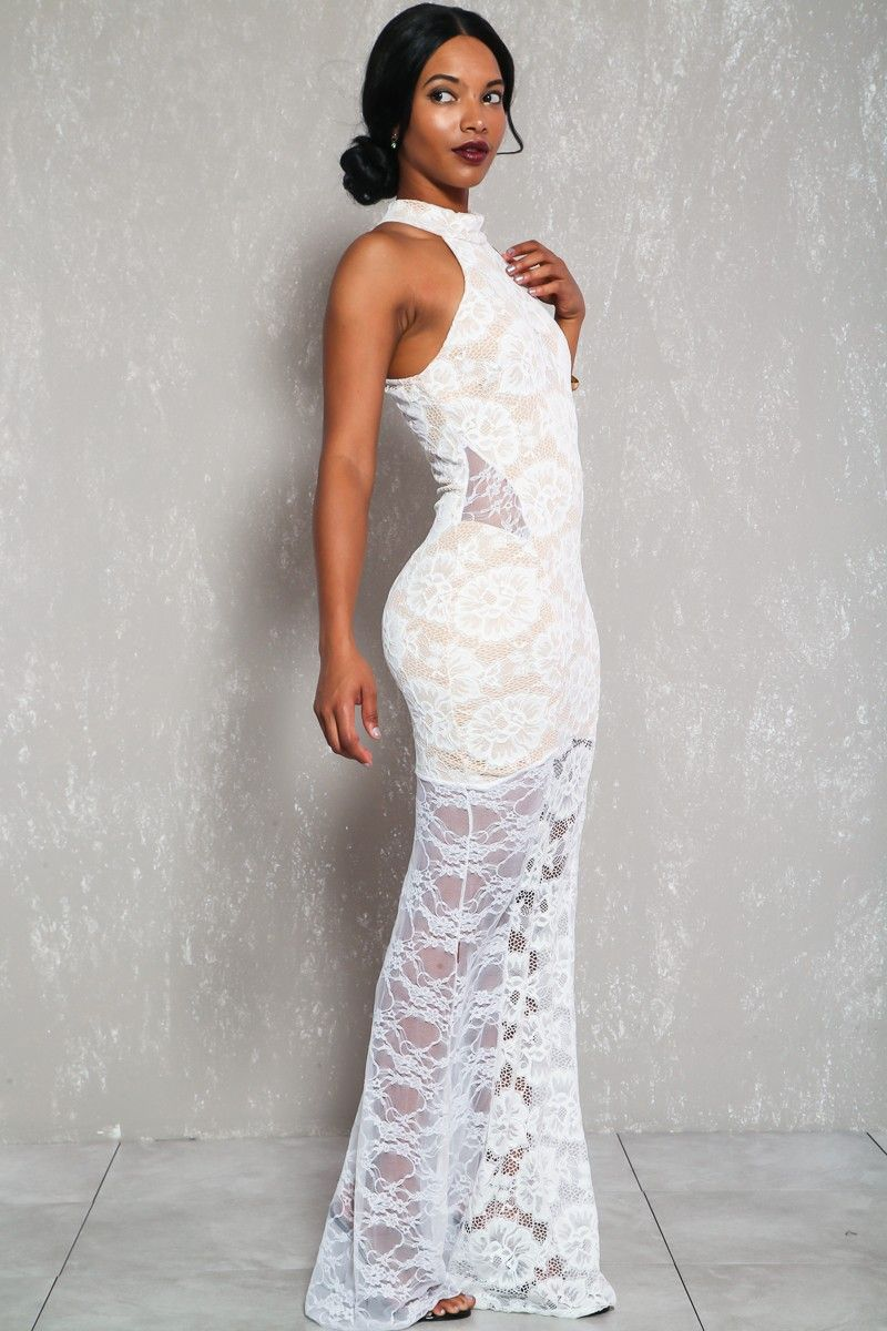 Sexy white embroidered lace sleeveless formal mermaid dress