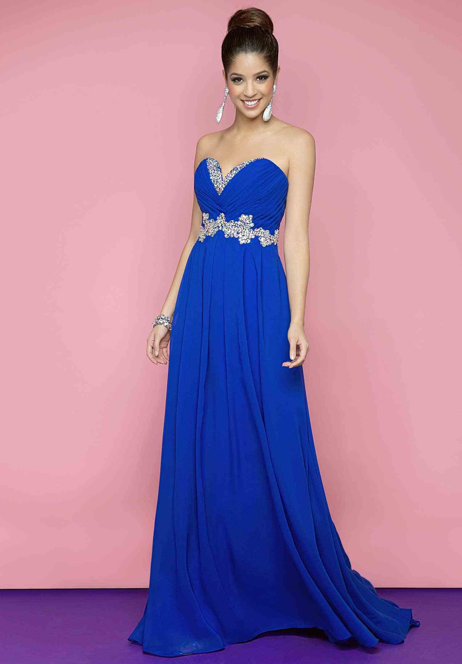Royal Blue Strapless Prom Dress