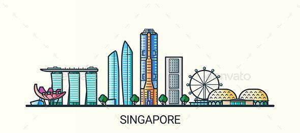 Line Flat Singapore Banner Singapore Art Singapore City City Icon