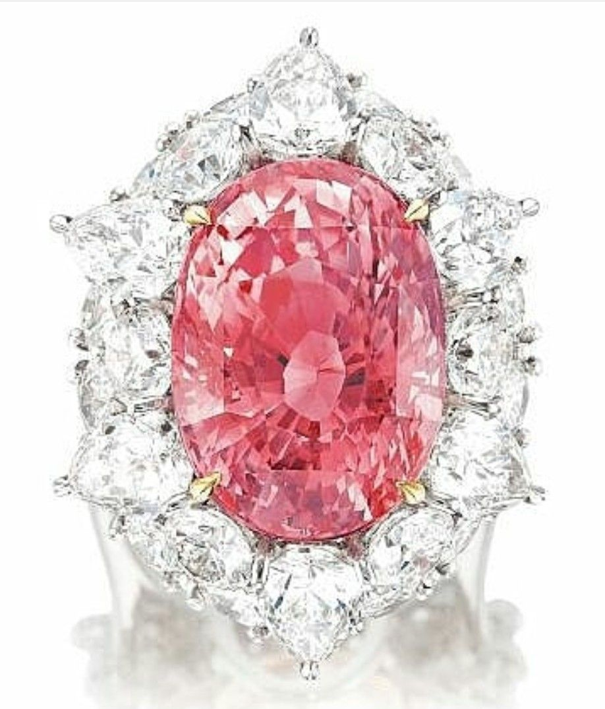 Padparadscha sapphire and diamond halo ring sapphire padparadscha