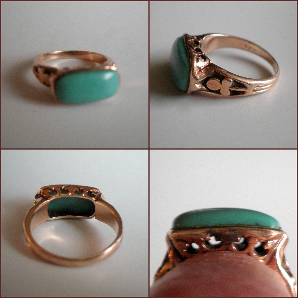 Vintge Antique Art Deco 10K Rose Gold Filigree Ring with Blue Green Stone. $139.00, via Etsy.