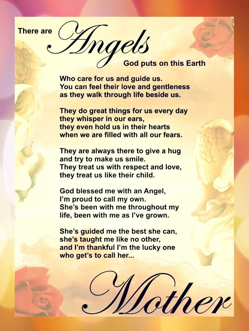 Angel Mothers Happy Mothers Day Poem Mom Poems Mother Poems