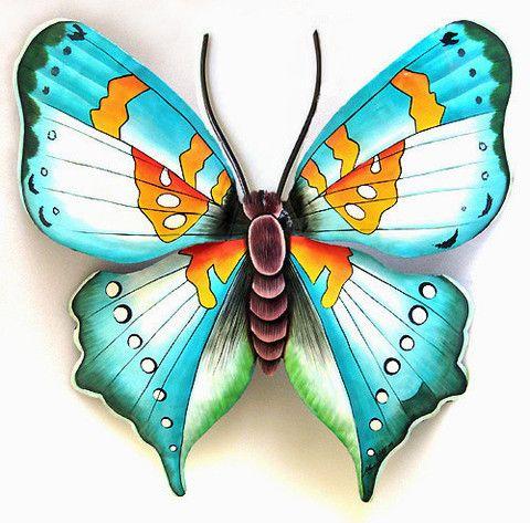Butterfly Wall Art Decor, Hand Painted Metal Garden Decor ...