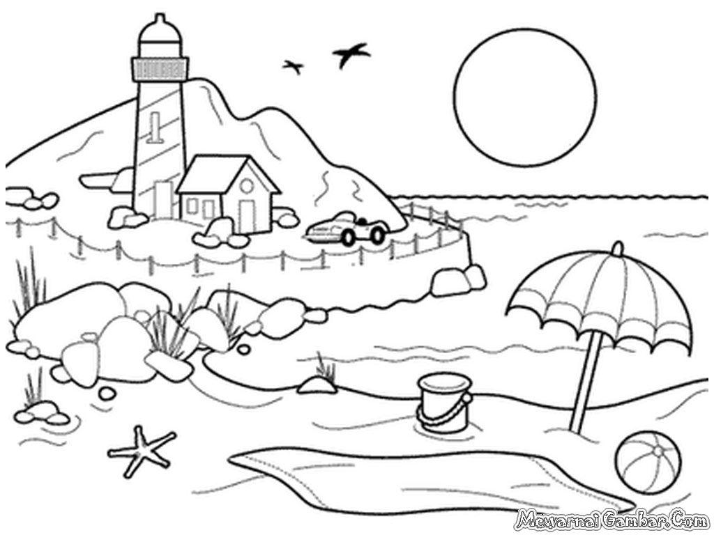 Mewarnai Gambar Pemandangan Pantai Gambar Mewarnai mewarnai gambar pemandangan pantai Bagi anak Paud